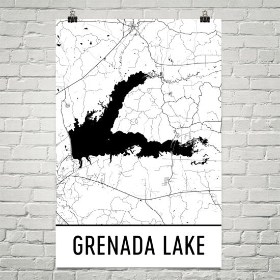 Grenada Lake MS Art and Maps