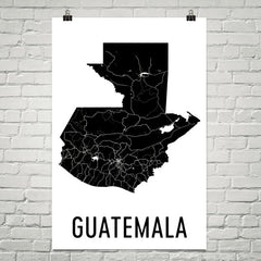 Guatemala Wall Map Print - Modern Map Art