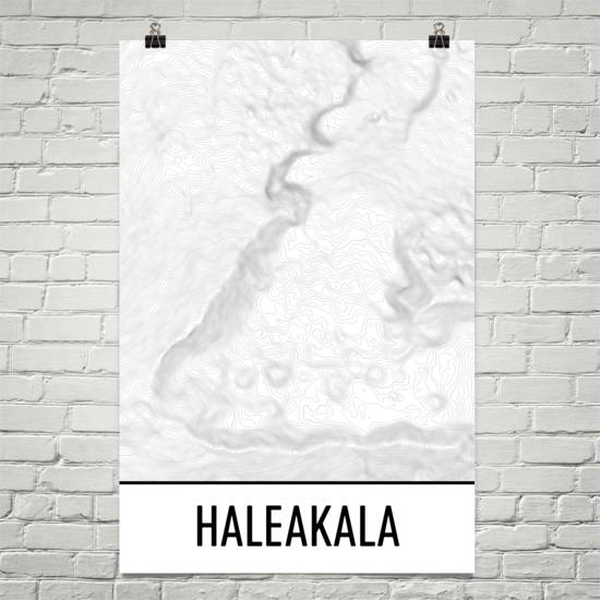 Topographic Map Of Maui.Haleakala Topographic Map Art Modern Map Art