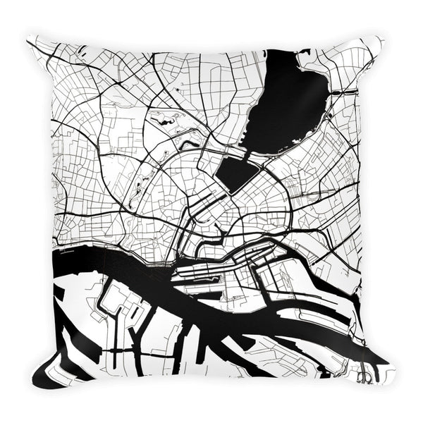 Hamburg Map Pillow – Modern Map Art