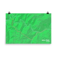 Inca Trail Map Art Prints