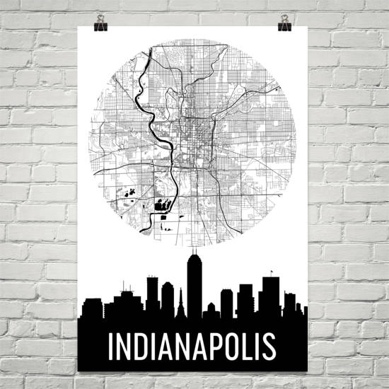 Indianapolis Skyline Silhouette Art Prints