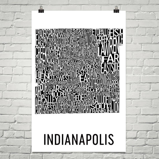 Indianapolis Neighborhood Typography Prints – Modern Map Art