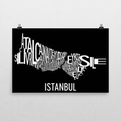 Istanbul Neighborhood Typography Prints – Modern Map Art