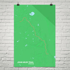 John Muir Trail Map Art Prints