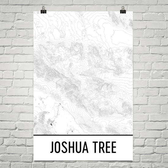 Joshua Tree Topographic Map.Joshua Tree Topographic Map Art Modern Map Art