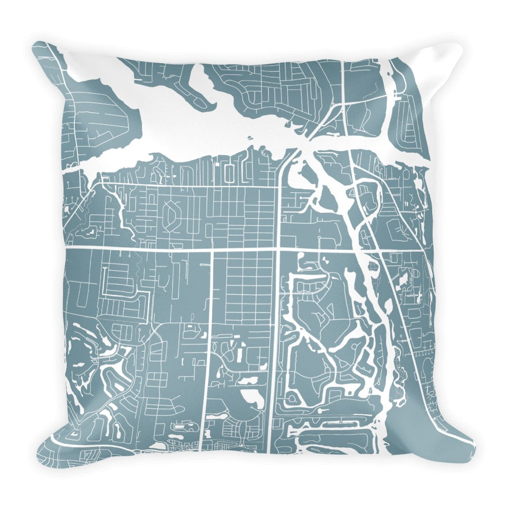 Jupiter Map Pillow – Modern Map Art