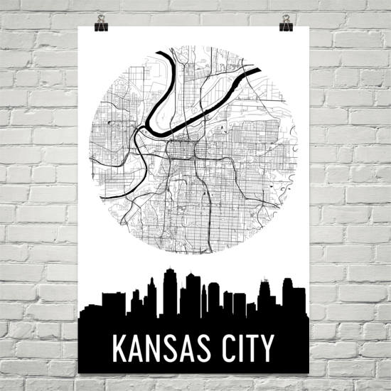Kansas City Skyline Silhouette Art Prints
