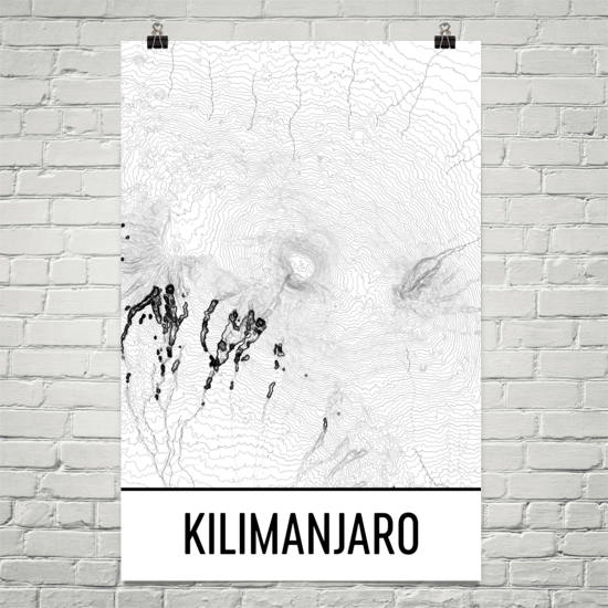 Kilimanjaro Topographic Map Art