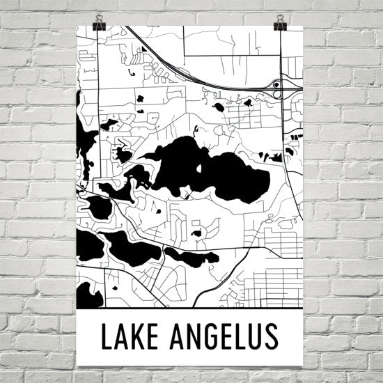 Lake Angelus MI Art and Maps