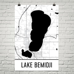 Lake Bemidji MN Art and Maps