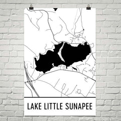 Lake Little Sunapee NH Art and Maps