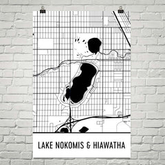 Lake Nokomis and Hiawatha MN Art and Maps