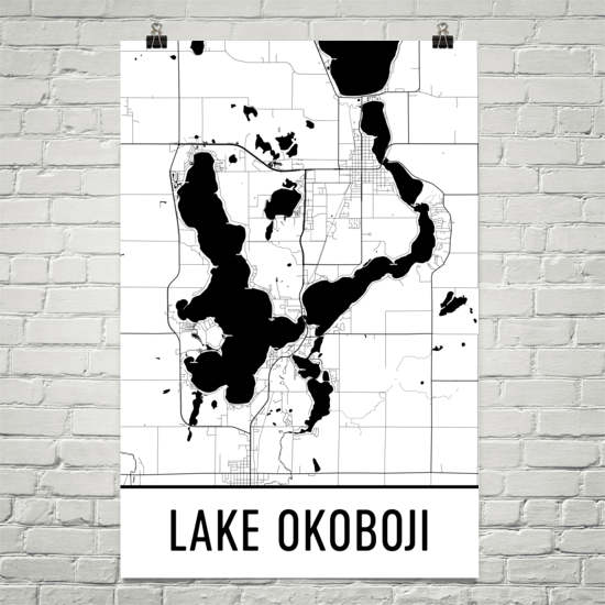 Lake Okoboji IA Art and Maps