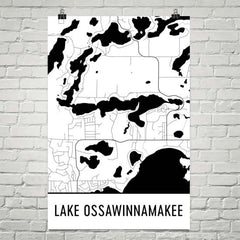 Lake Ossawinnamakee MN Art and Maps