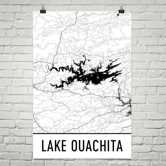 Lake Ouachita AR Art and Maps