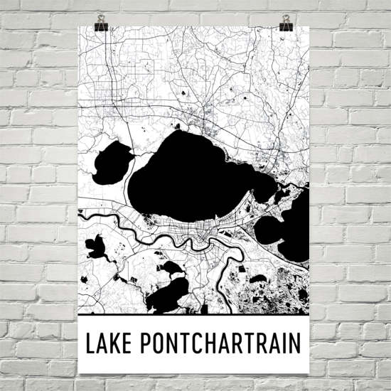 Lake Pontchartrain LA Art and Maps