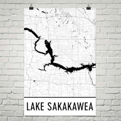 Lake Sakakawea ND Art and Maps