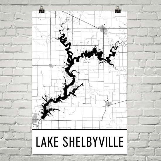 Lake Shelbyville IL Art and Maps
