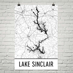 Lake Sinclair GA Art and Maps