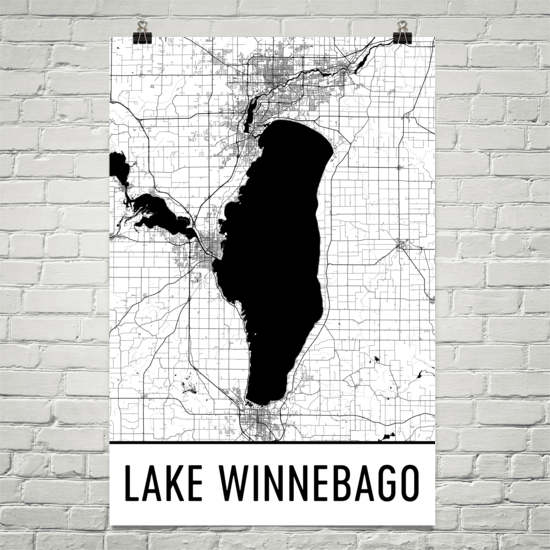 Lake Winnebago WI Art and Maps