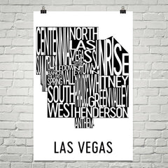Las Vegas Neighborhood Typography Prints – Modern Map Art