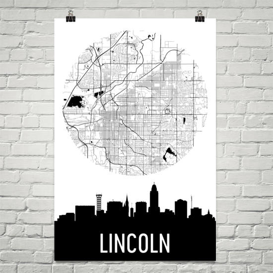 Lincoln Skyline Silhouette Art Prints