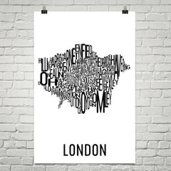 London Neighborhood Typography Prints – Modern Map Art