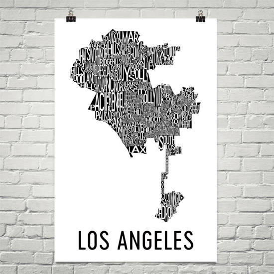 Los Angeles Neighborhood Typography Prints – Modern Map Art