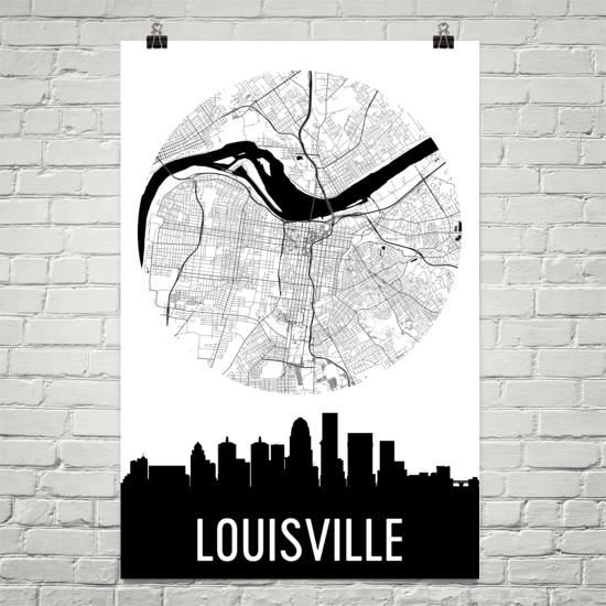 Louisville Skyline Silhouette Art Prints
