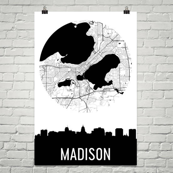 Madison Skyline Silhouette Art Prints