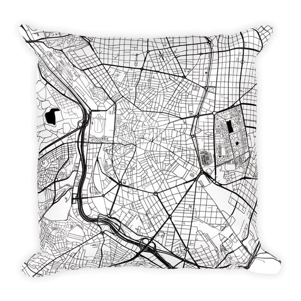 Madrid Map Pillow – Modern Map Art