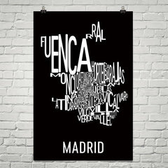 Madrid Neighborhood Typography Prints – Modern Map Art
