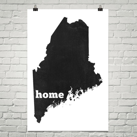Maine Home State Map Art