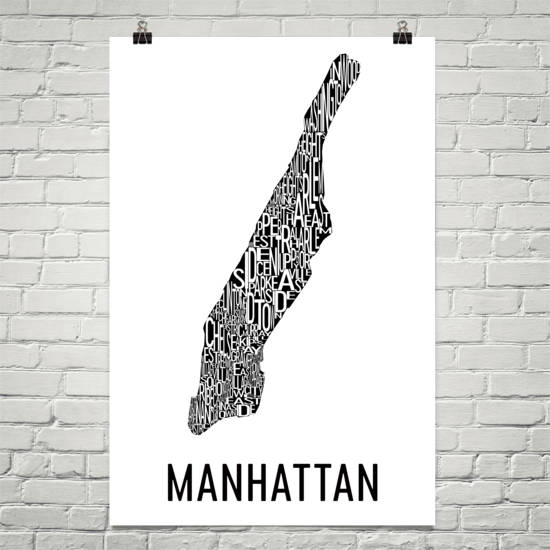 Manhattan Neighborhood Typography Prints – Modern Map Art