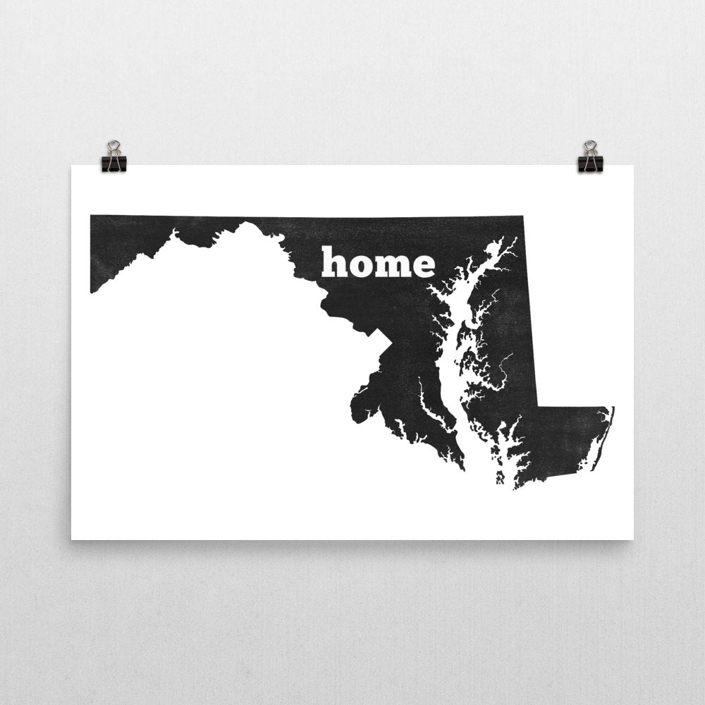 Maryland Home State Map Art