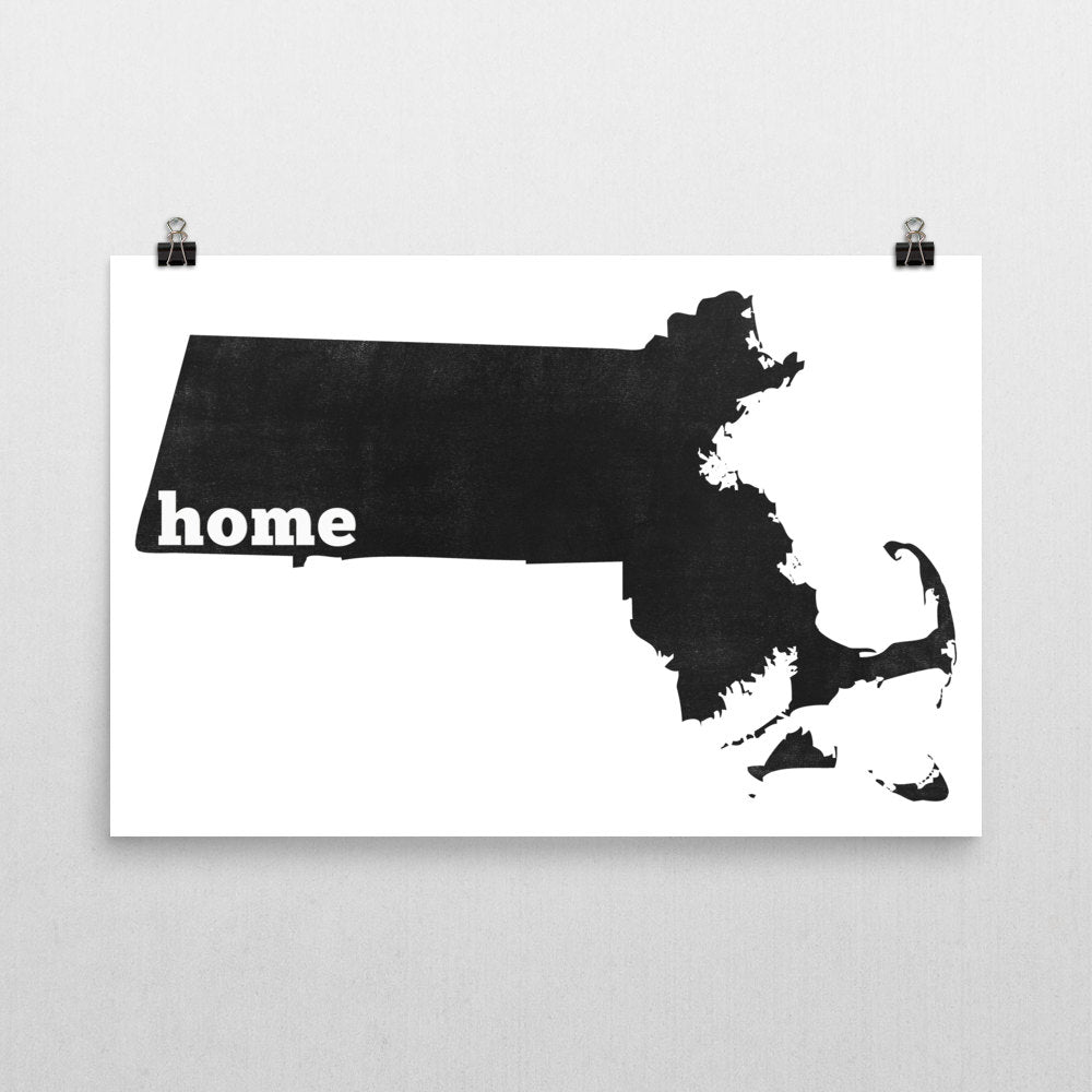 Massachusetts Home State Map Art