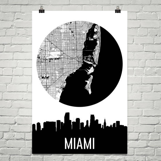 Miami Skyline Silhouette Art Prints