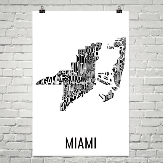 Miami Neighborhood Typography Prints – Modern Map Art