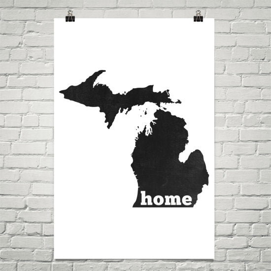 Michigan Home State Map Art