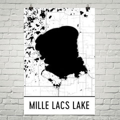 Mille Lacs Lake MN Art and Maps