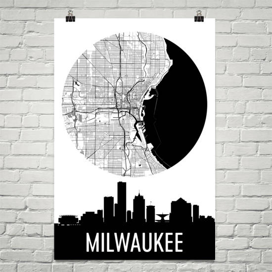 Milwaukee Skyline Silhouette Art Prints