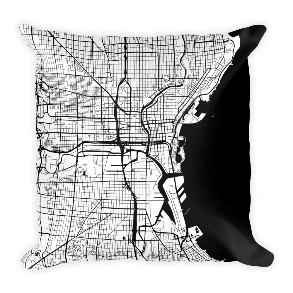 Milwaukee Map Pillow – Modern Map Art