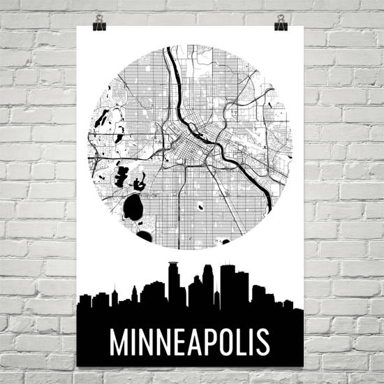 Minneapolis Skyline Silhouette Art Prints