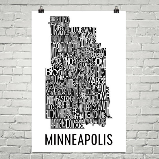 Minneapolis Neighborhood Typography Prints – Modern Map Art