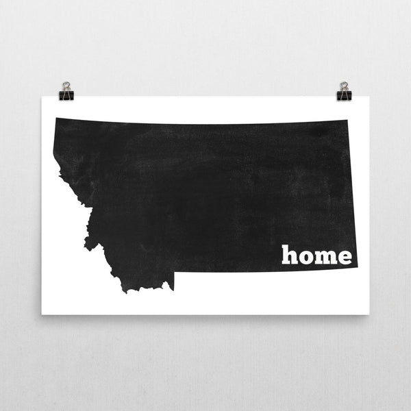 Montana Home State Map Art