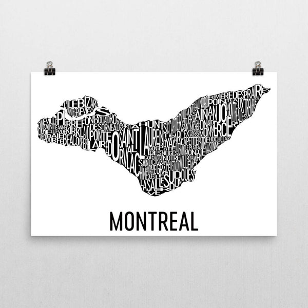 Montreal Neighborhood Typography Prints – Modern Map Art