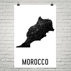 Morocco Wall Map Print - Modern Map Art