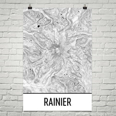 Mount Rainier Topographic Map Art