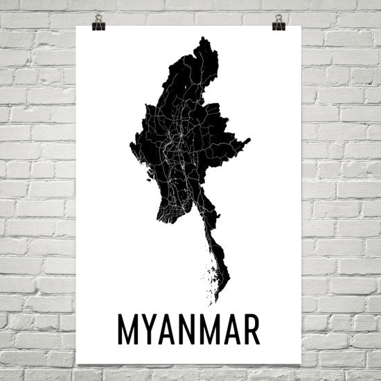 Myanmar Wall Map Print - Modern Map Art